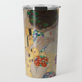 Gustav Klimt, The Kiss (Lovers), Detail Embrace, 1908 - Reproduction under Belvedere, Vienna, Creative Commons License CC BY-SA 4.0 Travel Mug