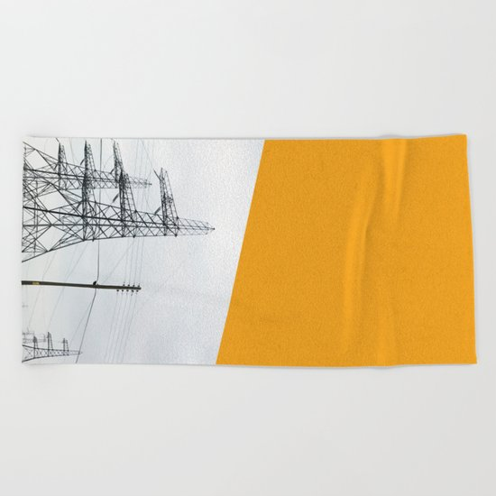 Orange Pylons Beach Towel