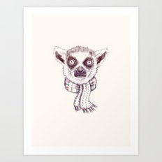 Lemur and scarf  Art Print