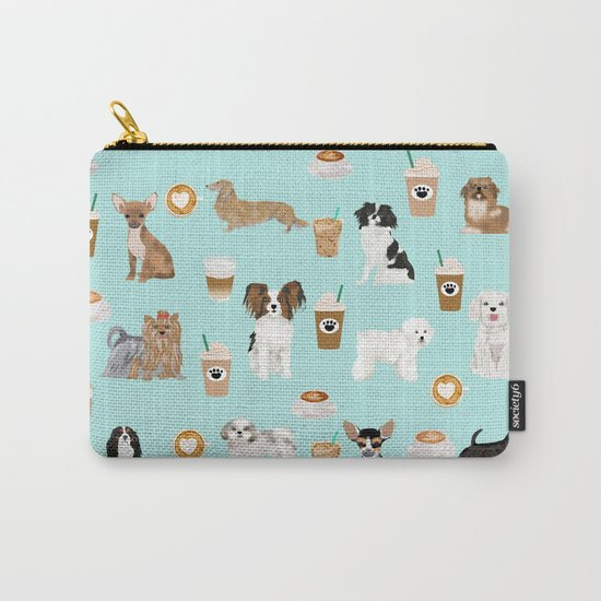 Coffee Dogs cute miniature dog breeds chihuahua bichon terrier Shih tzu pomeranian latte coffees Carry-All Pouch