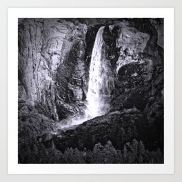 Bridalveil Falls. Yosemite California in Black and White Art Print