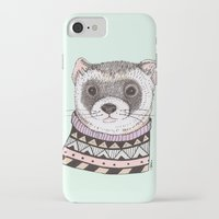 ferret iPhone & iPod Cases featuring Hipster Ferret by Indi Maverick