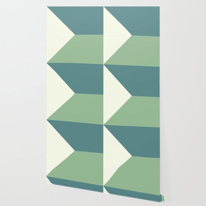 Green Blue Cream Abstract Geometric Art Wallpaper By