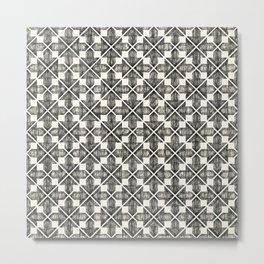 Black and White Ikat Doodle Metal Print