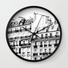 paris rooftops Wall Clock