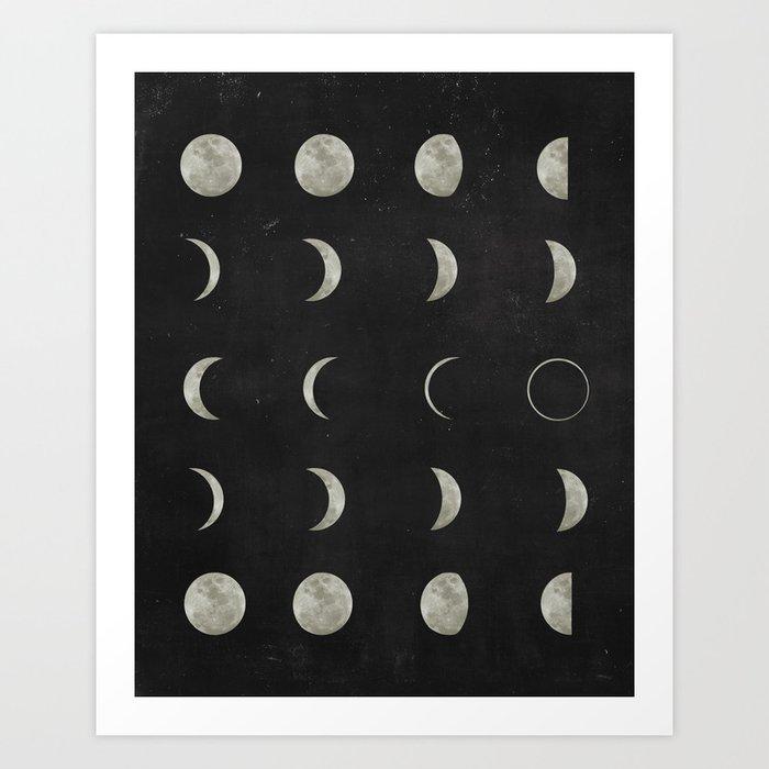 Moon Phases on Black Sky Kunstdrucke