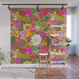 60's Groovy Garden in Neon Peach Coral Wall Mural