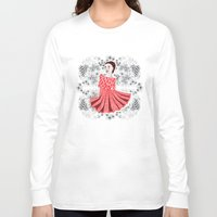 dress Long Sleeve T-shirts featuring Red Dress by Andrea Forgacs