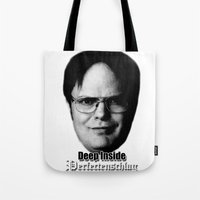 dwight Tote Bags featuring Dwight - Perfectenschlag by Thomas Rolfe