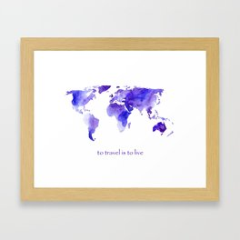 to travel is to live || watercolor map Framed Art Print