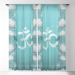 Om Symbol Gentle Lotus Stream on teal Sheer Curtain