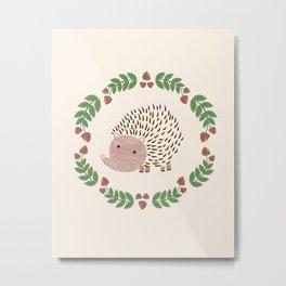 Hedgehog Print Metal Print