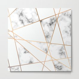 WHITE MARBLE WITH GOLD GEOMETRIC LINES II Metal Print