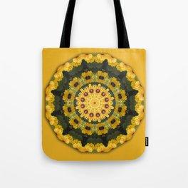 Black-eyed Susans, Nature Flower Mandala, Floral mandala-style Tote Bag