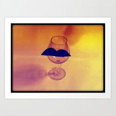 Hipster Wine Glass Art Print