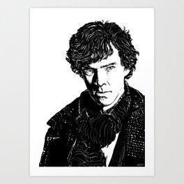 Sherlock B&W Art Print