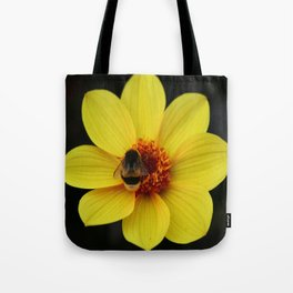 Dahlia  with Bumble Bee Tote Bag