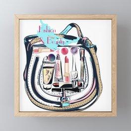 fashion vector illustration, female bag full of cosmetic for make up Framed Mini Art Print