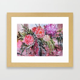 A LIFE TIME BANQUET- DAHLIAS- abstract floral still life by HSIN LIN / H.Lin the Artist Framed Art Print