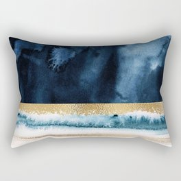 Navy Blue, Gold And White Abstract Watercolor Art Rectangular Pillow