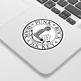 Punk Rock Book Jockey White Logo Sticker