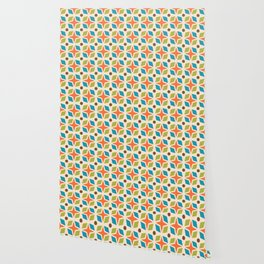 Mid Century Modern Abstract Star Dot Pattern 441 Orange Brown Turquoise Chartreuse Wallpaper