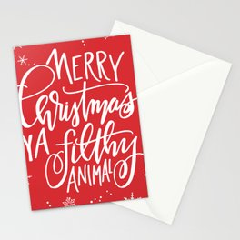 Merry Christmas Ya Filthy Animal Stationery Cards