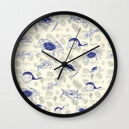 Crabbing Blues Wall Clock