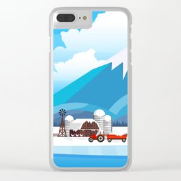 Winter rural landscape illustration. Clear iPhone Case