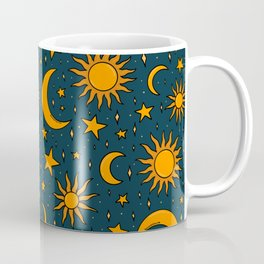 Vintage Sun and Star Print in Navy Coffee Mug