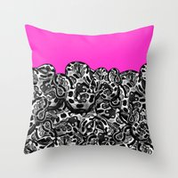 monty python Throw Pillows featuring Python Pink by Hipsterdirtbag