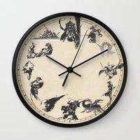 final fantasy Wall Clocks featuring FINAL FANTASY CLOCK by DrakenStuff+