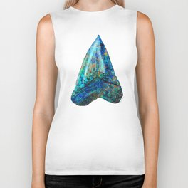 Blue Shark Tooth Art by Sharon Cummings Biker Tank
