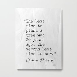 The best time to plant a tree was 20 years ago. The second best time is now. Metal Print