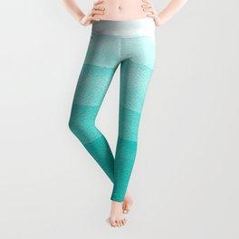 Mint Green Watercolor Ombré Dip Dyed Leggings