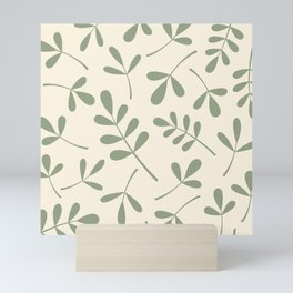 Green on Cream Assorted Leaf Silhouettes Mini Art Print