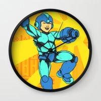 mega man Wall Clocks featuring Mega Man by Ramon Villalobos