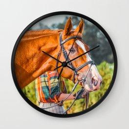 Horse head photo closeup Wall Clock