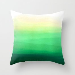 Dip dye background in shades of green Throw Pillow