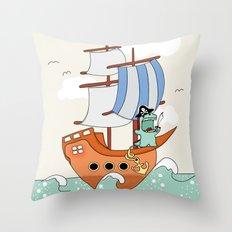 Dinosaur on a ship Throw Pillow