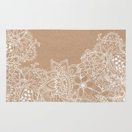 Modern white hand drawn floral illustration on rustic beige faux kraft color block Rug