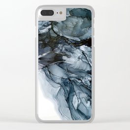 Dark Payne's Grey Flowing Abstract Painting Clear iPhone Case