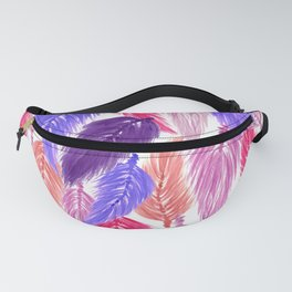 Watercolor Macrame Feather Toss in White + Purple Pink Fanny Pack