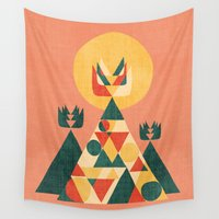 sunset Wall Tapestries featuring Sunset Tipi by Picomodi