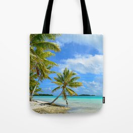 Tropical palm beach in the Pacific Tote Bag