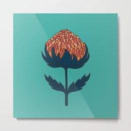 Abstract Australian Banksia Flower Pattern on teal Metal Print