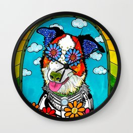 Happy Border Collie Wall Clock