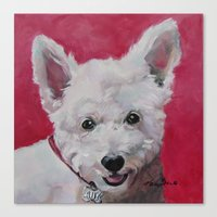 westie Canvas Prints featuring Westie - Ally by Karren Garces Pet Art