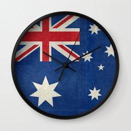 "Australian flag, retro ""folded"" textured version (authentic scale 1:2) Wall Clock"
