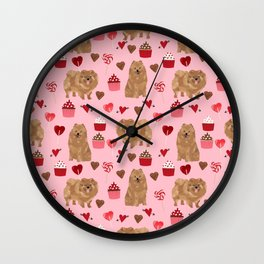 Pomeranian valentines day love hearts cupcakes pattern cute puppy dog breeds by pet friendly Wall Clock